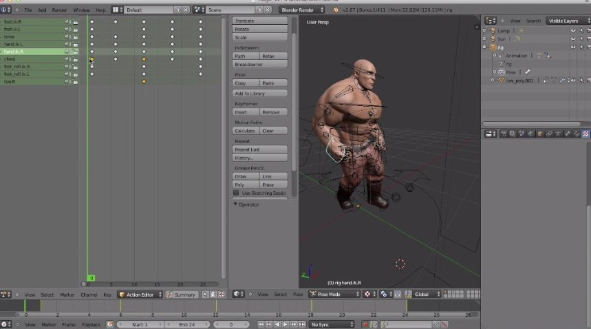 Blender Character Modeling For Unity : Export an animated character from blender to unity