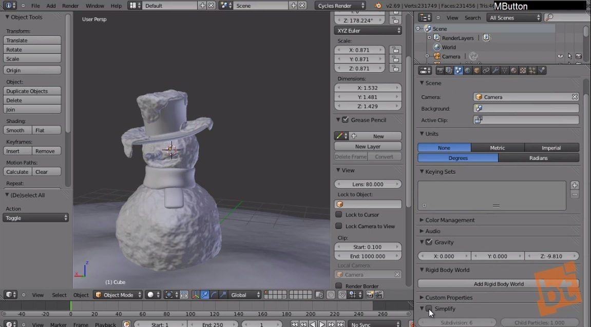SnowMan in Blender