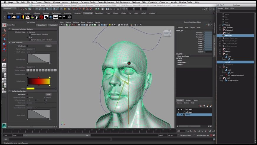 Curves As Influence Objects for Face in Maya