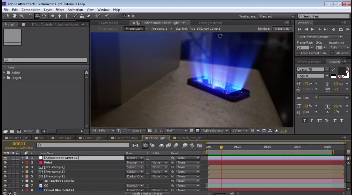 3D Light Rays in After Effects