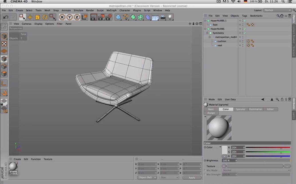 Subdivision Modelling an Armchair C4D