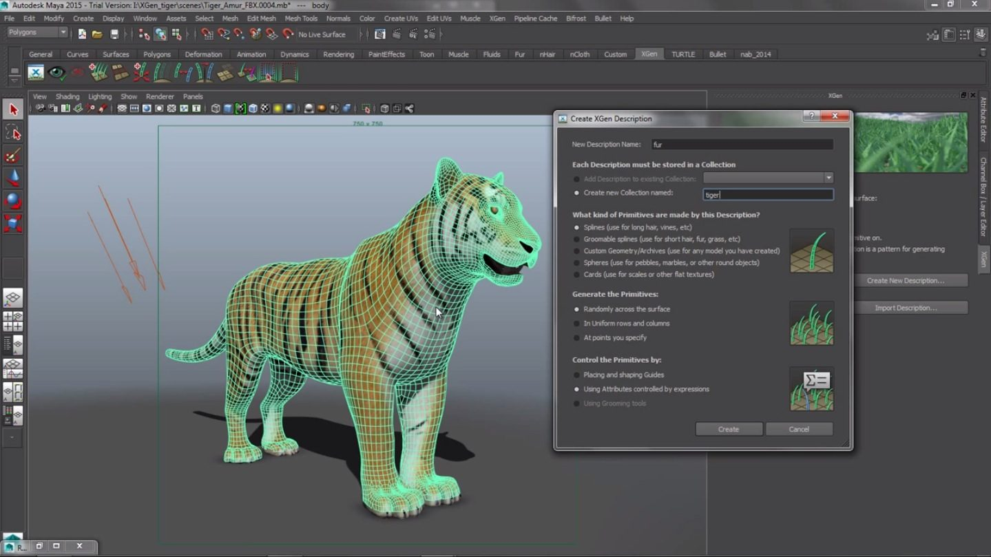Controlling plexity with Xgen in Maya 2015