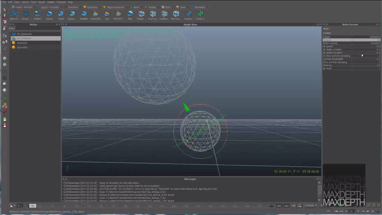 Alembic pipeline from Realflow 2014 to Maya using Vray