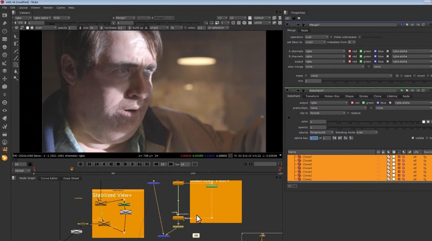Stabilize and Roto Paint in Nuke using Mocha Pro