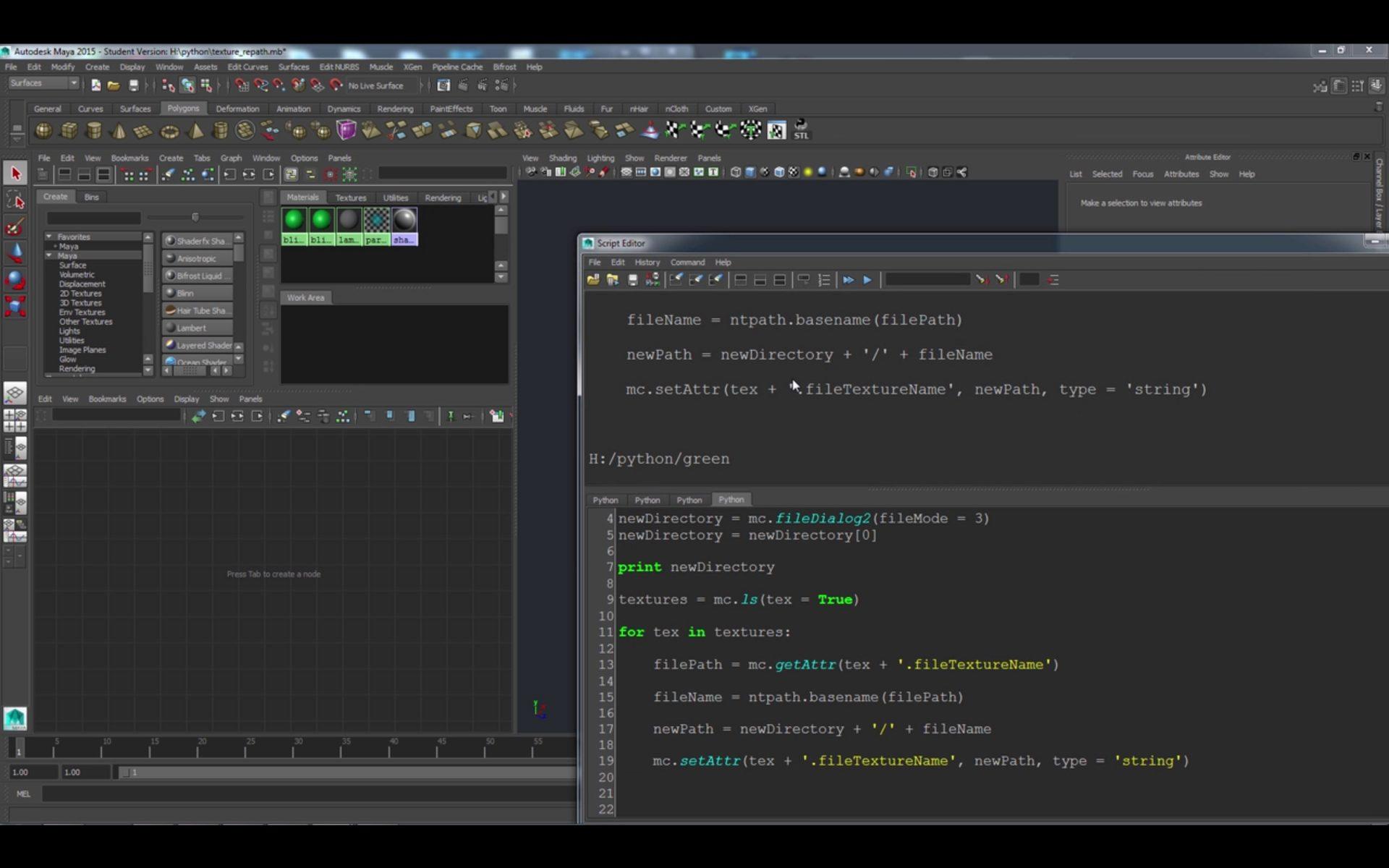 Python Scripting in Maya: Texture Repath Tool