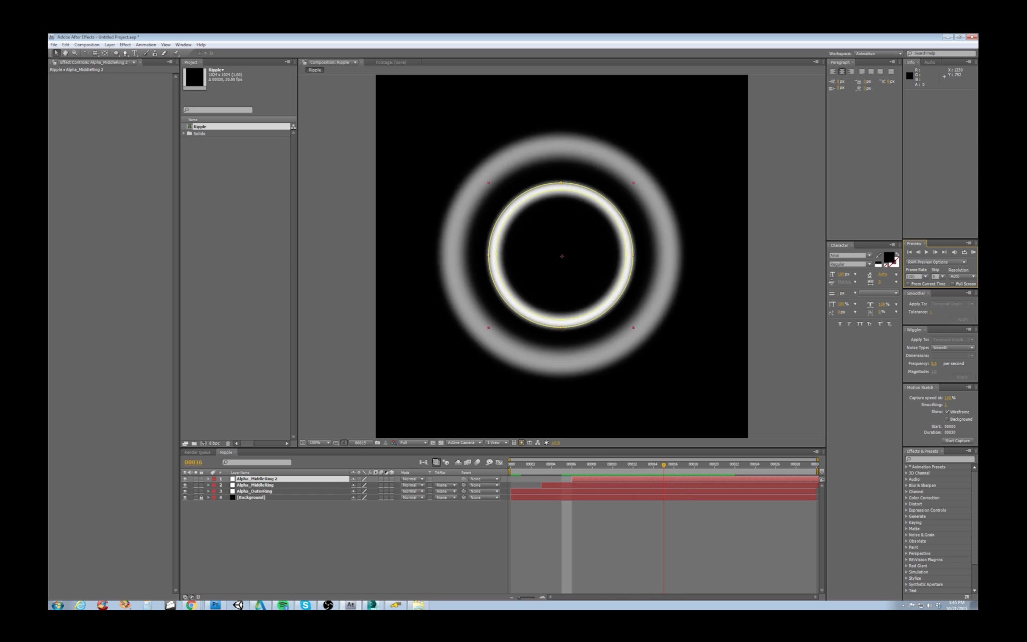 Animated Ripple Effect in 3D Studio Max
