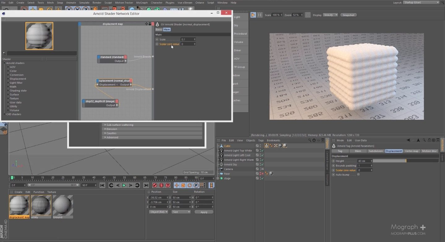 Subdivision and Displacement Mapping in Arnold For Cinema 4d