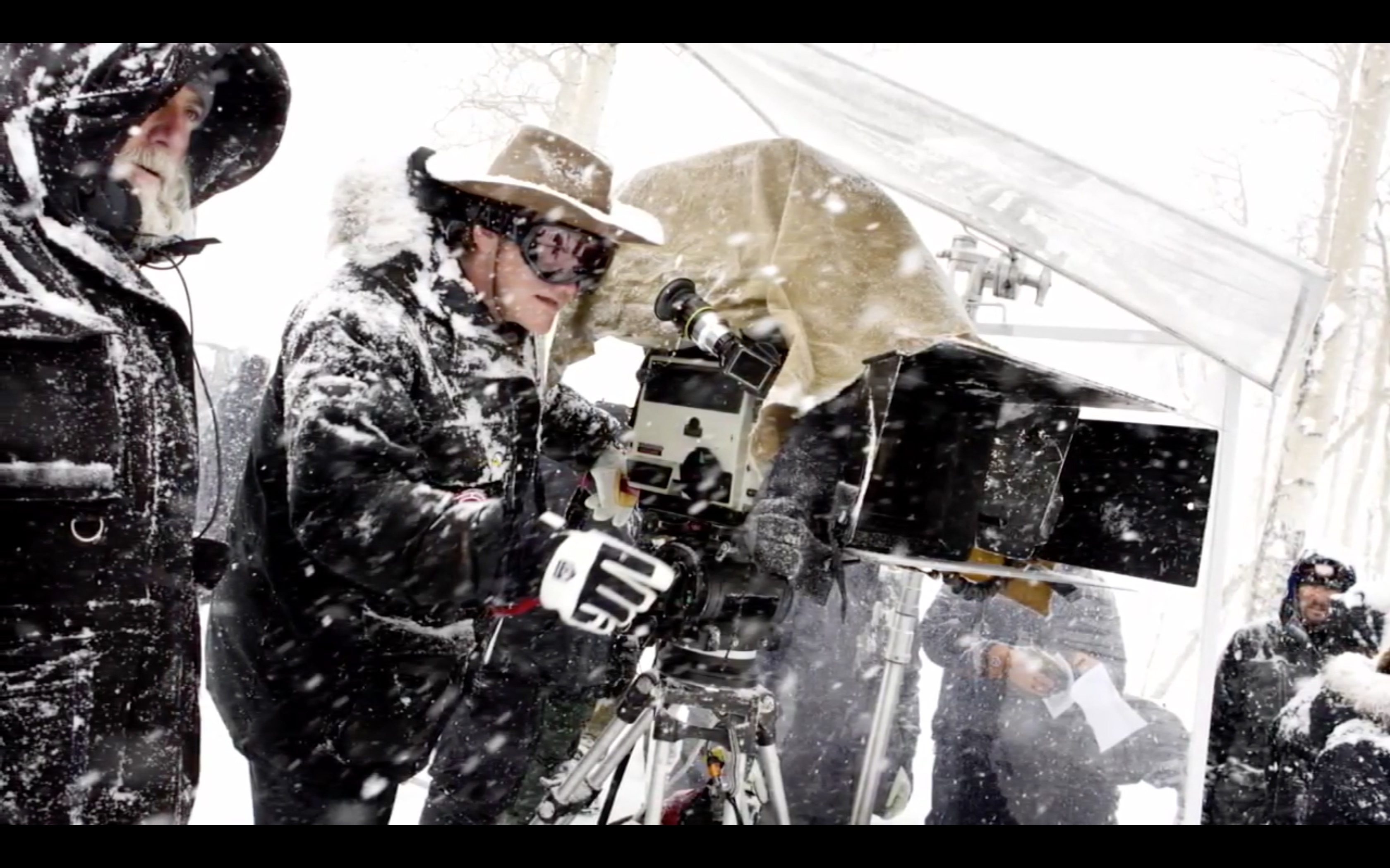 behind the scenes of the hateful eight 70mm filming