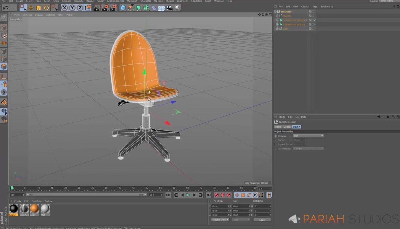 Modeling a chair in Cinema 4D