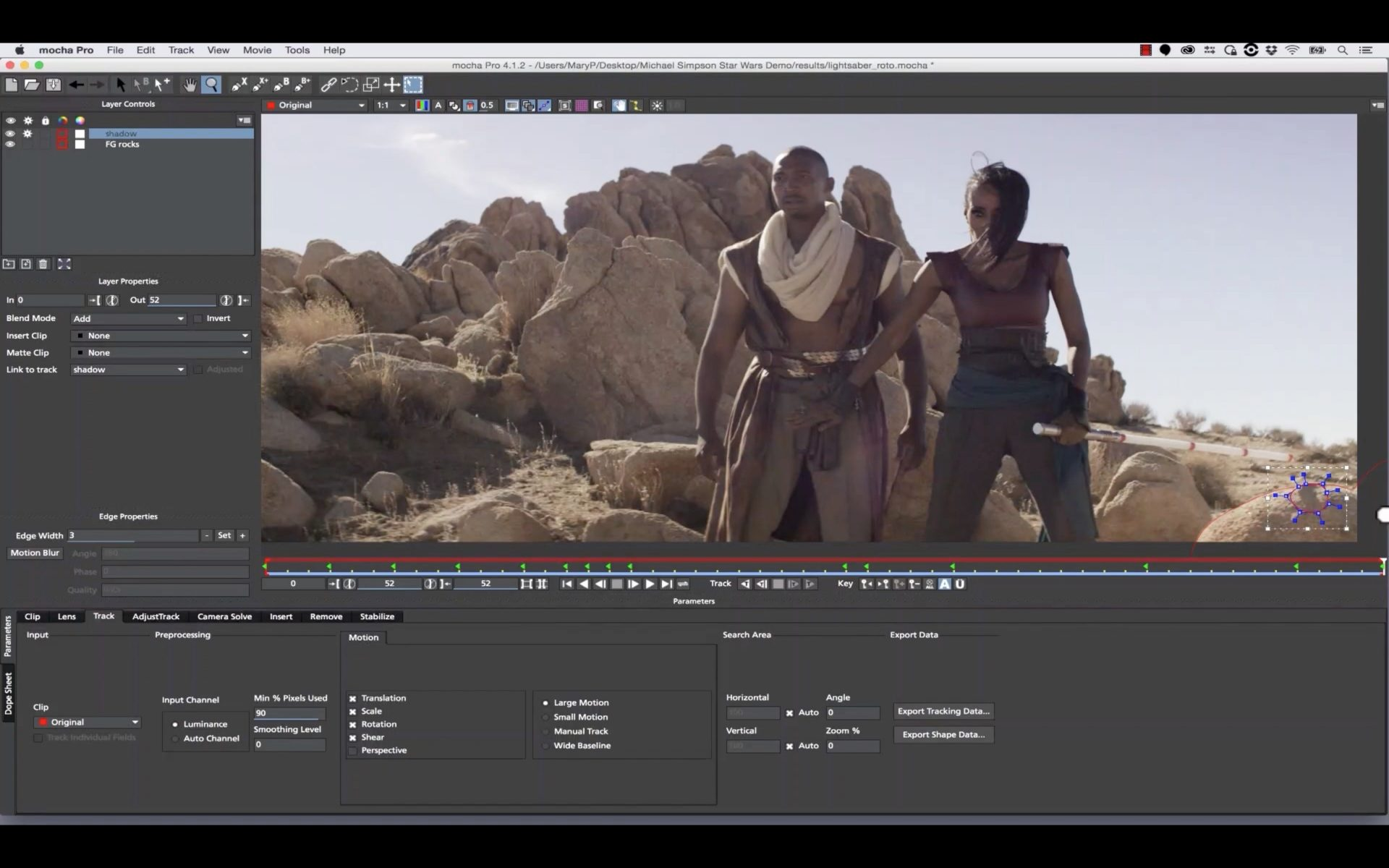 Multi-Plane Lightsaber Remove with mocha Pro