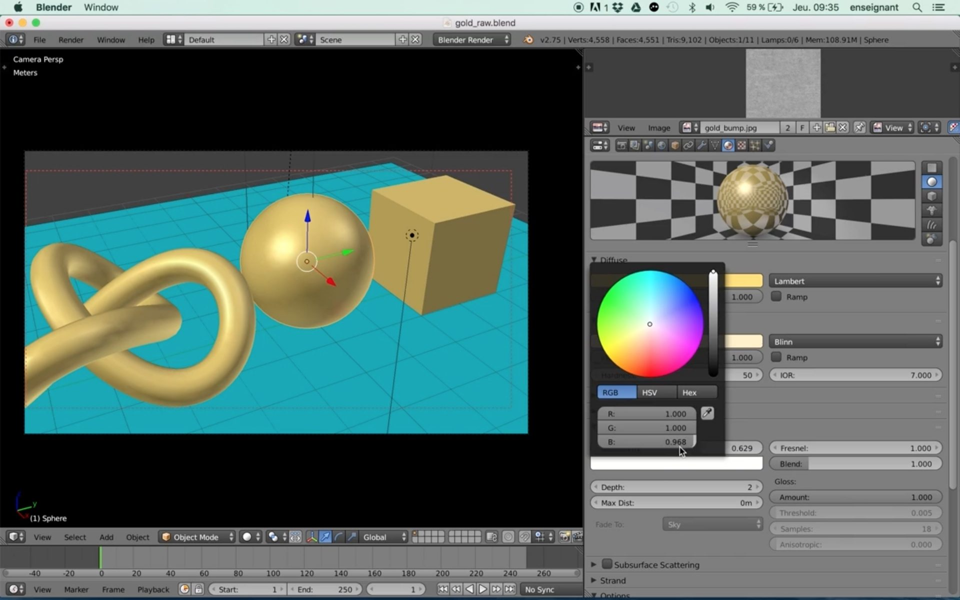 Blender tutorial: Raw gold material setup