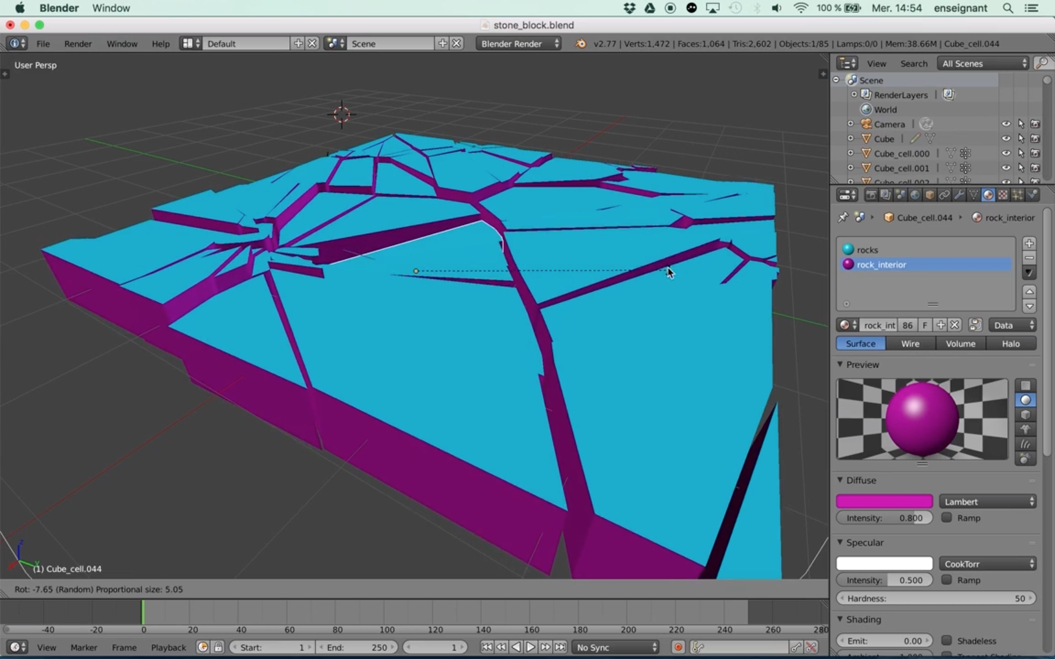 Modeling Broken Element Using Cell Fracture in Blender