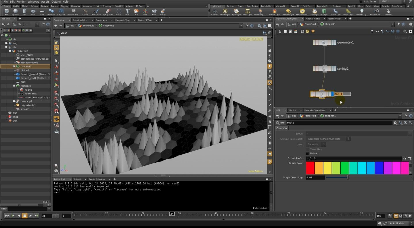 Create FerroFluid Effect in Houdini