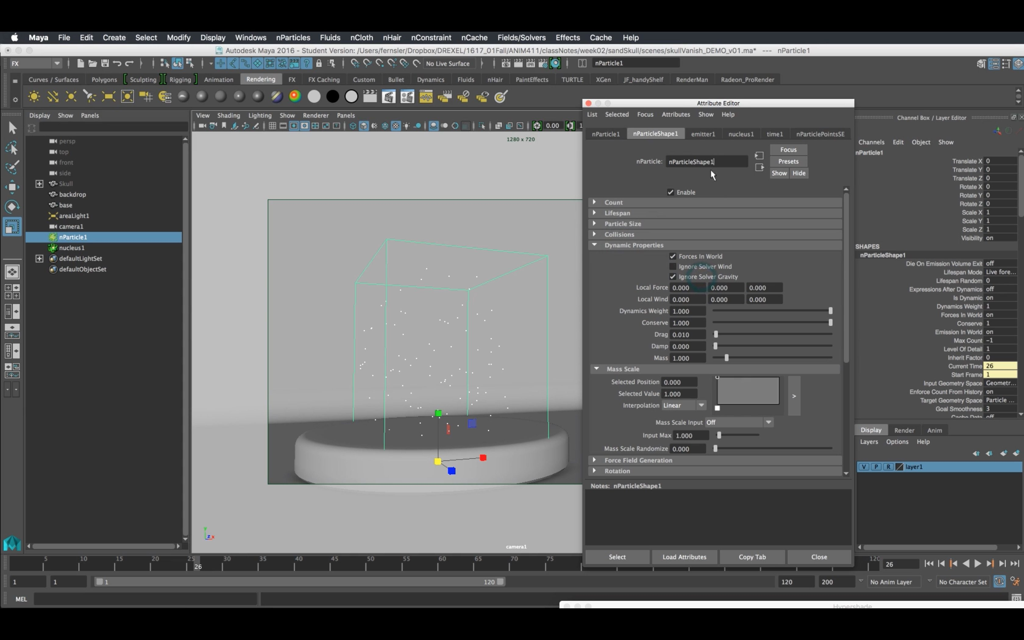 How To Dissolve an object with Maya