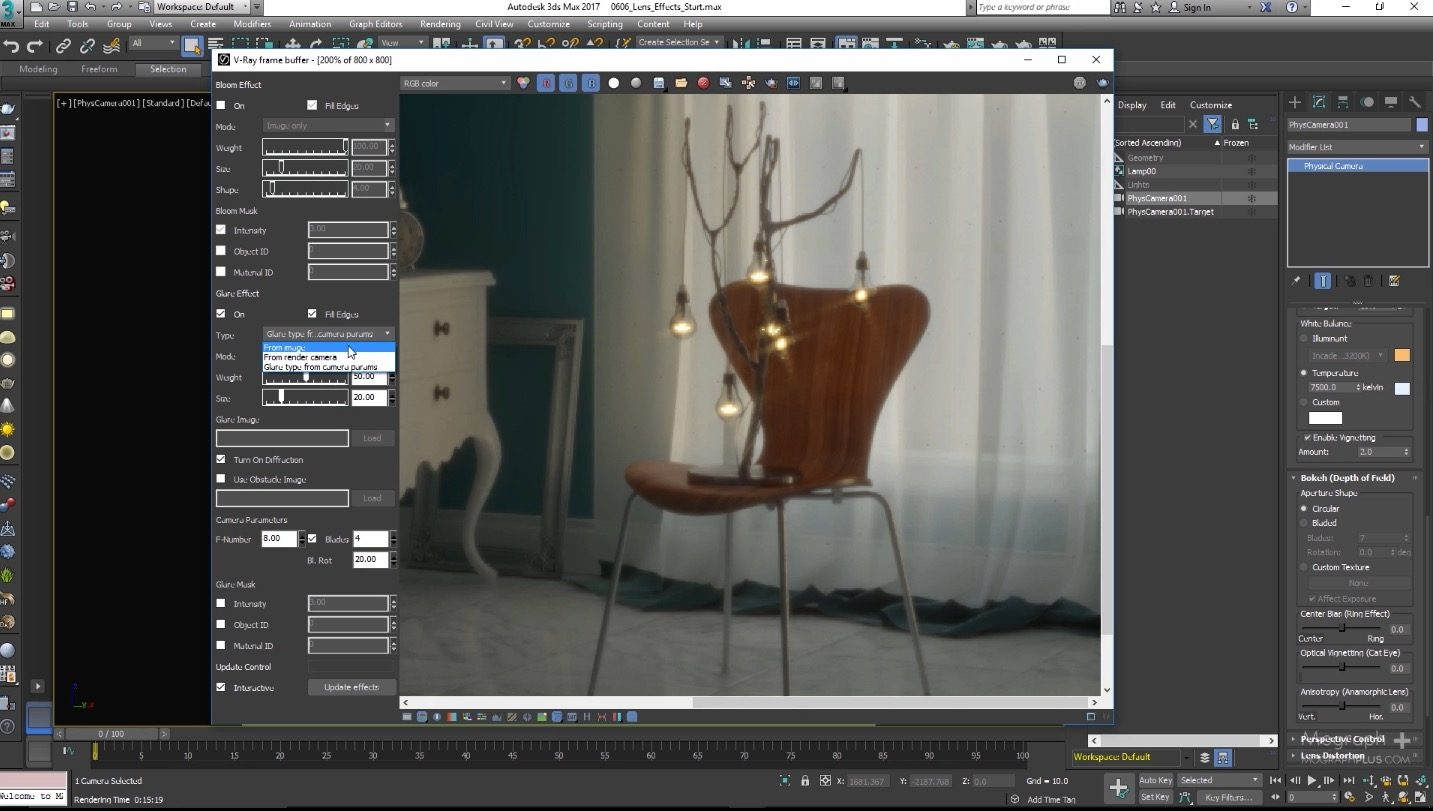 Bloom and Glare in V-Ray