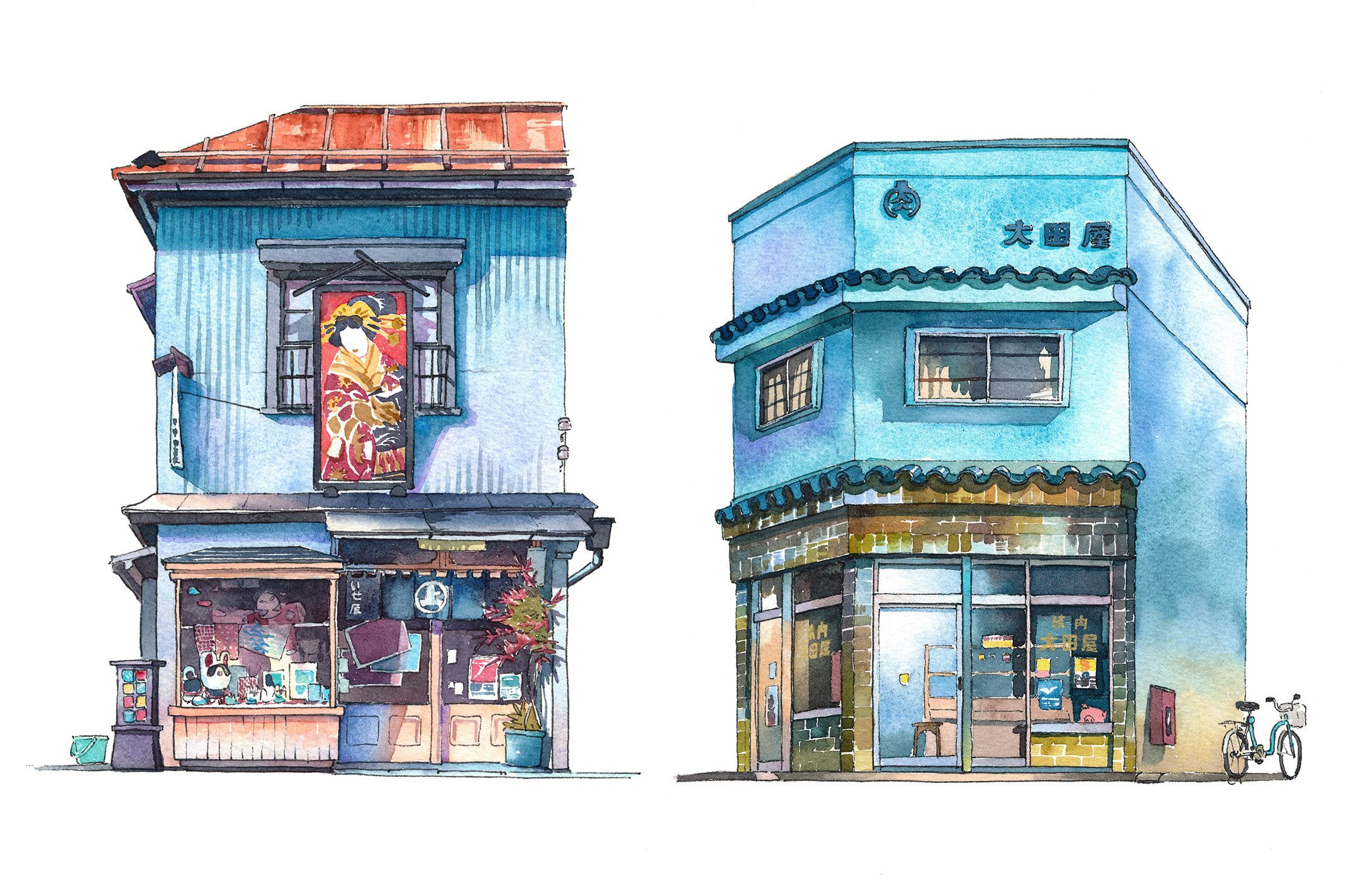 Tokyo Watercolor Storefronts Series by Mateusz Urbanowicz
