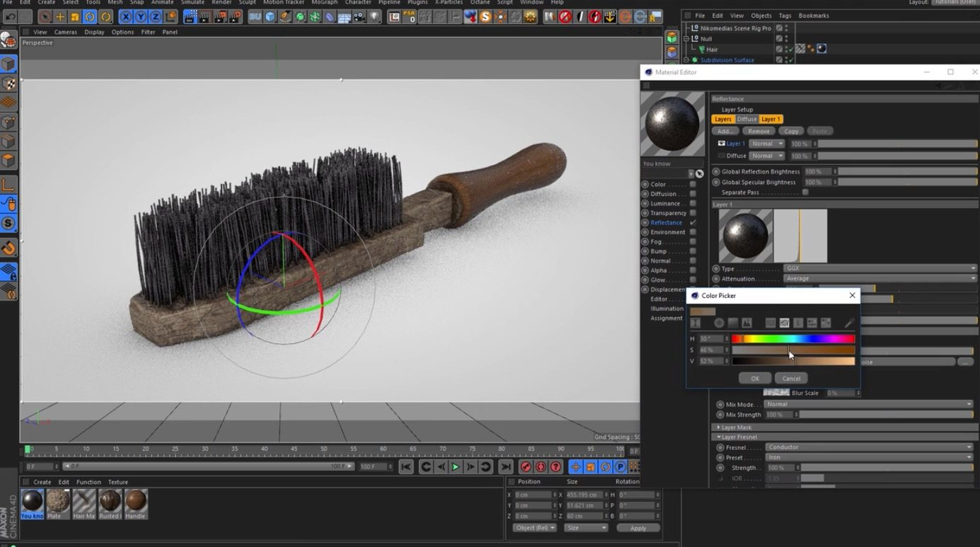 Creating a Wire Brush with stand with C4D