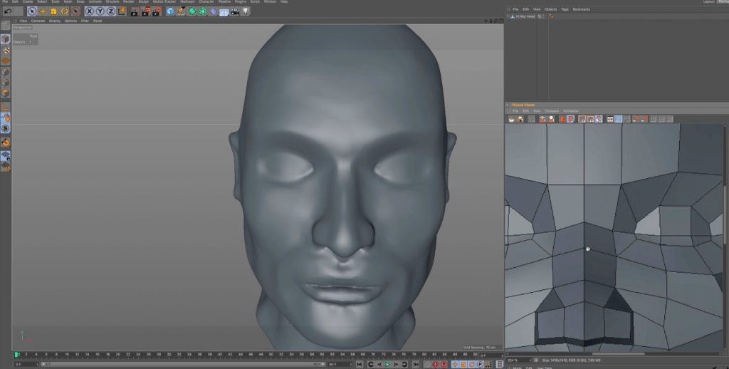 Retopology of a Human Head in Cinema 4D