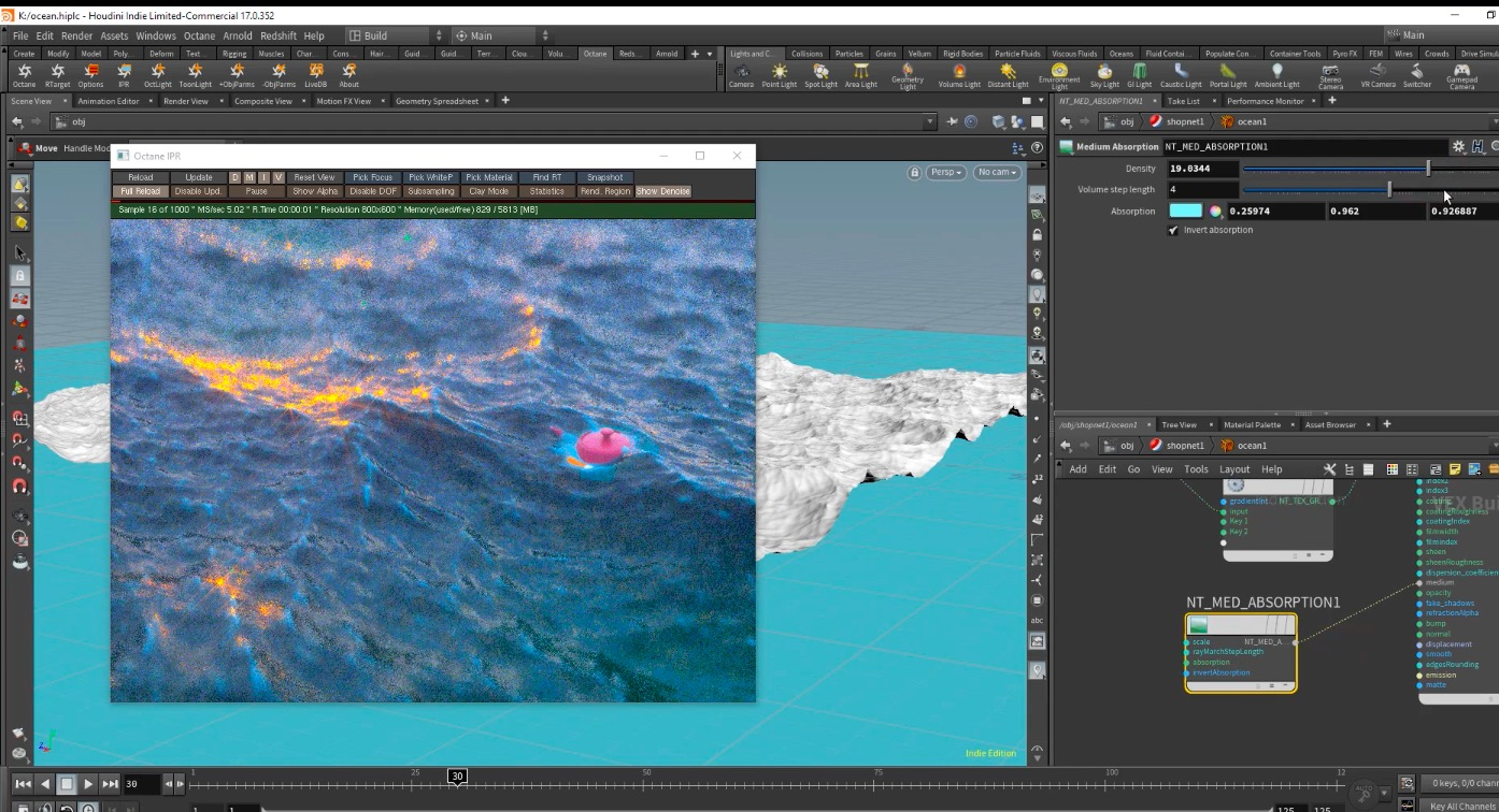 Create an Ocean with Houdini and Octane