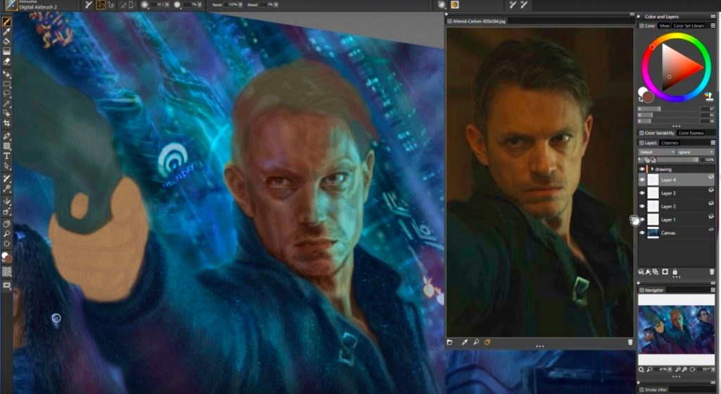 Art Process - Altered Carbon Fan Art Poster by Isis Sousa