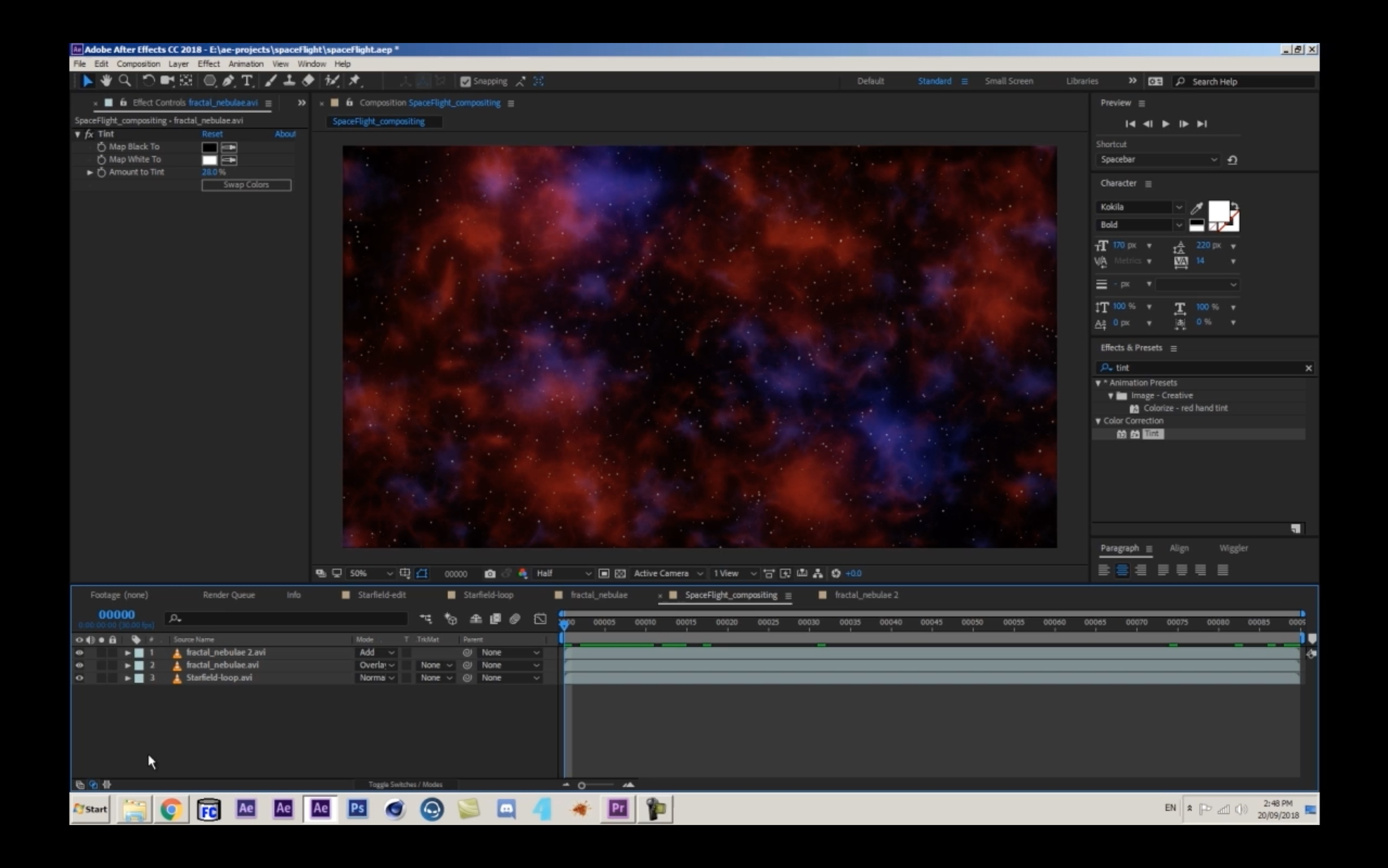 Creating a Looping Space Flight in After Effects without Plugin