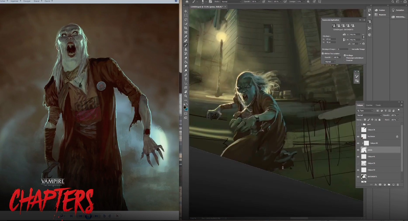 Vampire the Masquerade - CHAPTERS Game Cover Speed Drawing by Marc Simonetti