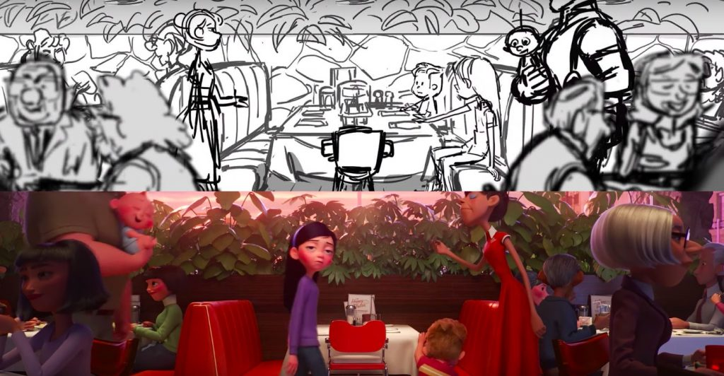 from Storyboard to Final frame - Awkward Parr Family Dinner