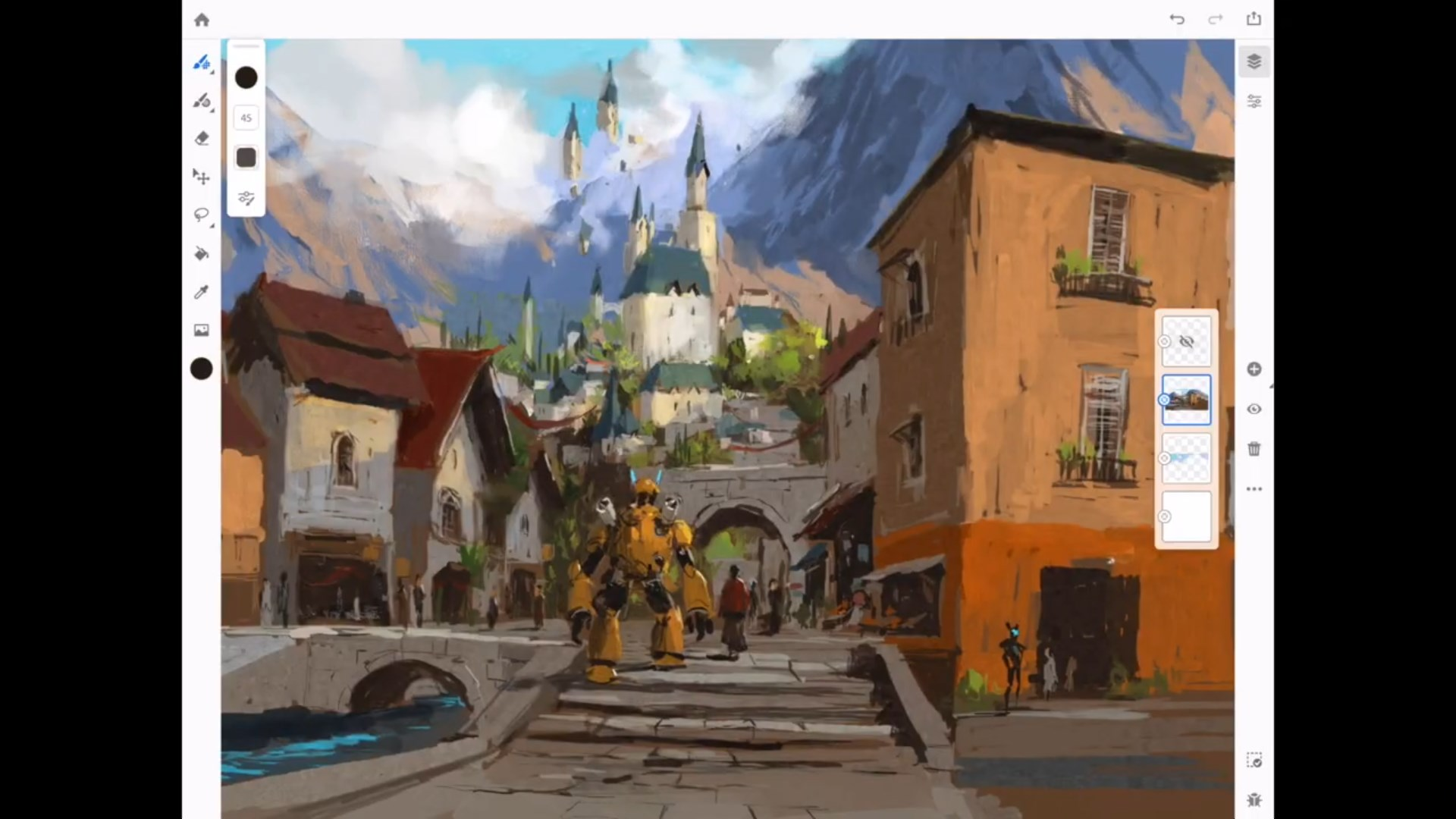Making of JC Park Village Painting with Adobe Fresco