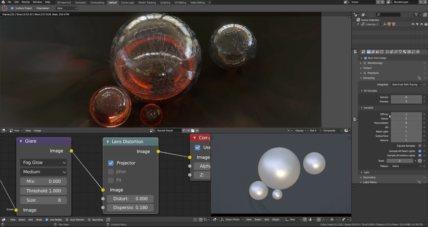 Advanced Glass Shader in Cycles