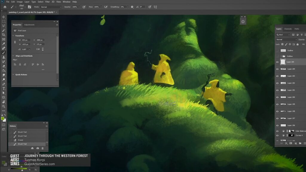 Journey Through the Western Forest Painting Process by Tuomas Korpi